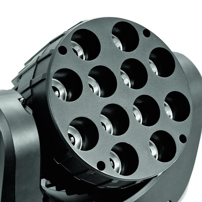 EUROLITE LED TMH-12 Moving Head Wash 12x 10W QCL, RGBW-värit, 9° kapea valokeila, LED-toimintanäyttö ohjauspaneelilla, portaaton värinvaihto, valmiita värimacroja, himmennysnopeus säädettävissä, strobe, DMX tai stand-alone, master/slave. Mitat 255 x 155 x 310 mm sekä paino 5,0kg.