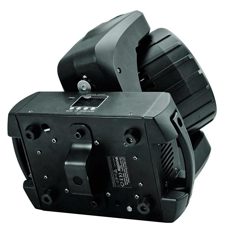 EUROLITE LED TMH-12 Moving Head Wash 12x 10W QCL. RGBW-värit, 9° kapea valokeila. LED-toimintonäyttö ja ohjauspaneeli, portaaton värinvaihto, valmiita värimacroja, himmennysnopeus säädettävissä, strobe, DMX tai stand-alone, master/slave. Mitat 255 x 155 x 310 mm sekä paino 5,0kg.