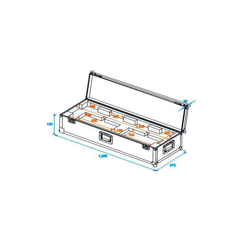 ROADINGER Kuljetuslaatikko pyörillä KLS-Valoseteille KLS-200, KLS-300, KLS-400, KLS-401, KLS-800, KLS-801, KLS-1001 ja KLS-2001, mitat 1280 x 375 x 205mm, paino 11kg.