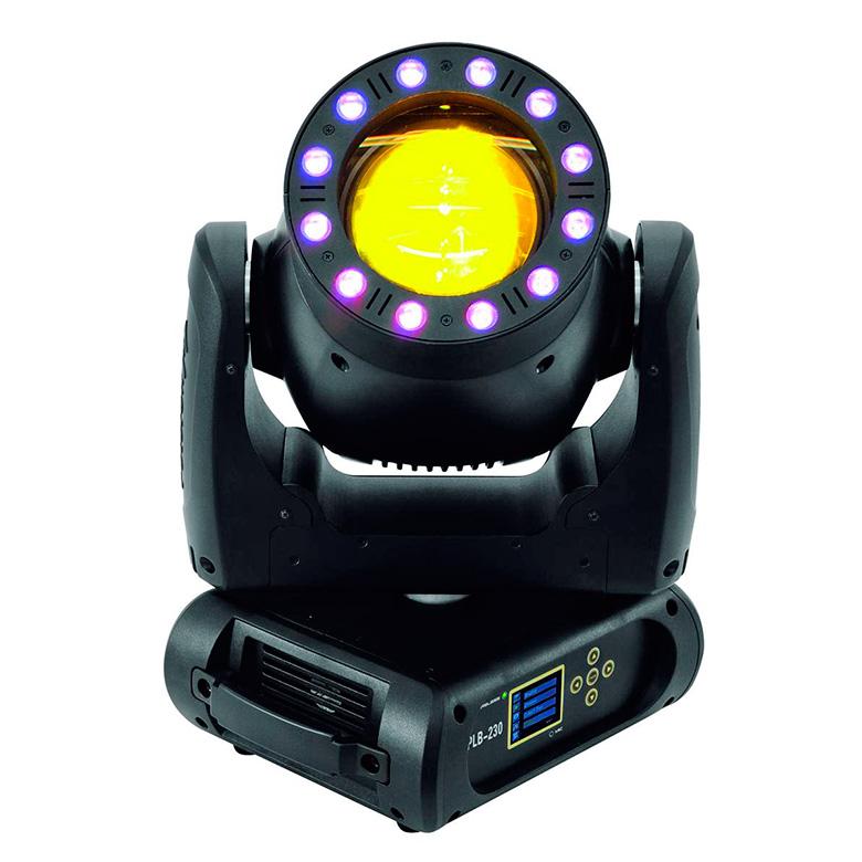 FUTURELIGHT Moving Head kaikilla herkuilla High Power Beam Osram Sirius HRI 230W lampulla, valokeilassa 1.3°, lisäksi 12x 3W TCL RGB LEDin LED-renkaalla, langaton W-DMX, 3-facet ja 8-facet prismat sekä huurrefiltteri, 14 värillistä dichroic-filtteriä + valkoinen, sateenkaariefektin nopeus säädettävissä kumpaakin suuntaan, 11 goboa + auki, goboja voi pyörittää kumpaakin suuntaan ja ravistaa, himmennin, strobe, DMX- tai musiikkiohjaus.