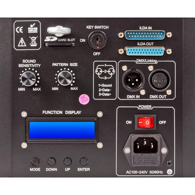 BEAMZ LS-1W PRO Animation Laser erittäin tehokas DMX SD RGB. SD-kortti ohjelmointi ja DB25 ILDA PC-liitäntä, DMX-, auto- ja ääniohjaus, master/slave. Luokka 4