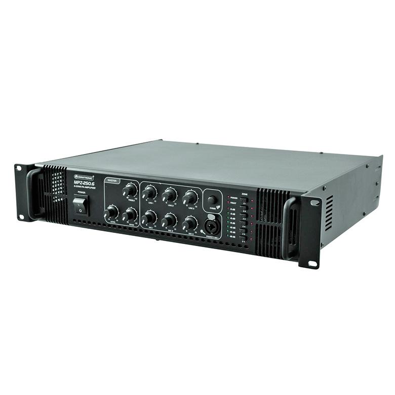 OMNITRONIC MPZ-250-6 Monialue mikserivahvistin 6-aluetta 250W, ulostulot 70V, 100V tai 4-16 ohmia. Monikäyttöinen PA vahvistin 100V 250W. Voidaan