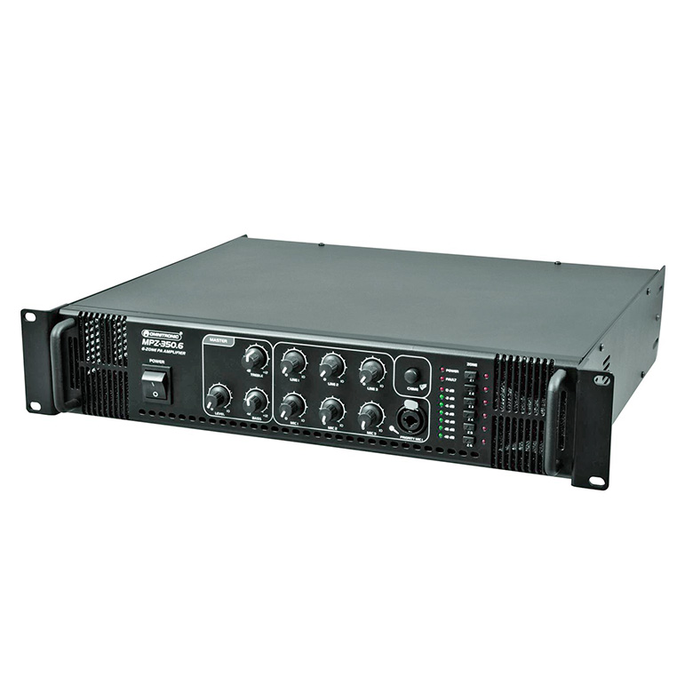 OMNITRONIC MPZ-350-6 Monialue mikserivahvistin, 6-aluetta 350W, ulostulot 70V, 100V tai 4-16 ohmia. PA mixing amplifier.6-zone PA mono mixing amplifier