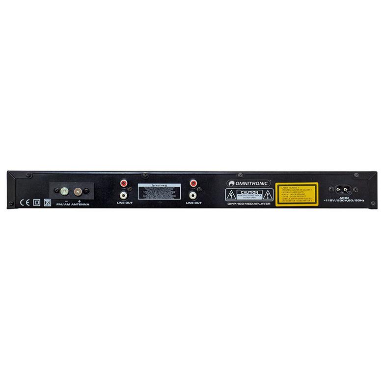 OMNITRONIC DMP-103RDS PRO Mediasoitin CD/ CD-R/CD-RW/MP3 CD, FM/AM virittimellä ja USB-portilla sekä IR-kauko-ohjaimella. Nopeuden säätö ±24 %. Laitteen korkeus vain 1U, räkkiasennus 19