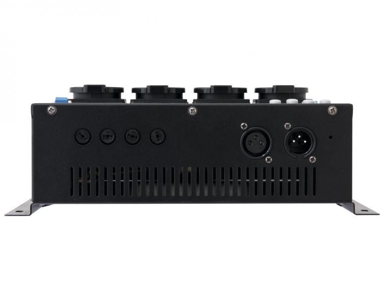 EUROLITE EDX-4R DMX RDM Himmenninpakki 4-kanavaa resistiivisellä kuormalla 1150W x kanava max. 4x1000W. maksimi verkon mukainen 16A eli n. 3680W. Tällä himmentimellä saat normaalin DMX-ohjaimen toimimaan perinteisten valojen kanssa, kuten Par 56, par 64 sekä teatteri spotit halogeeni ja tungsten.Pakissa on 4-kanavaa ja jokaiseen voit laittaa 5A kuormaa! Pakkia kaikilla DMX- ja analogiohjaimilla. Ulostulot Suko pistokkeilla. Esim. par-heittimien seuraksi voit ottaa jonkun ohjauspaneelin yhteensopivista tuotteista! Mitat 320 x 165 x 110 mm sekä paino 3,0kg. Voidaan asentaa vaikka seinään ruuvaamalla!