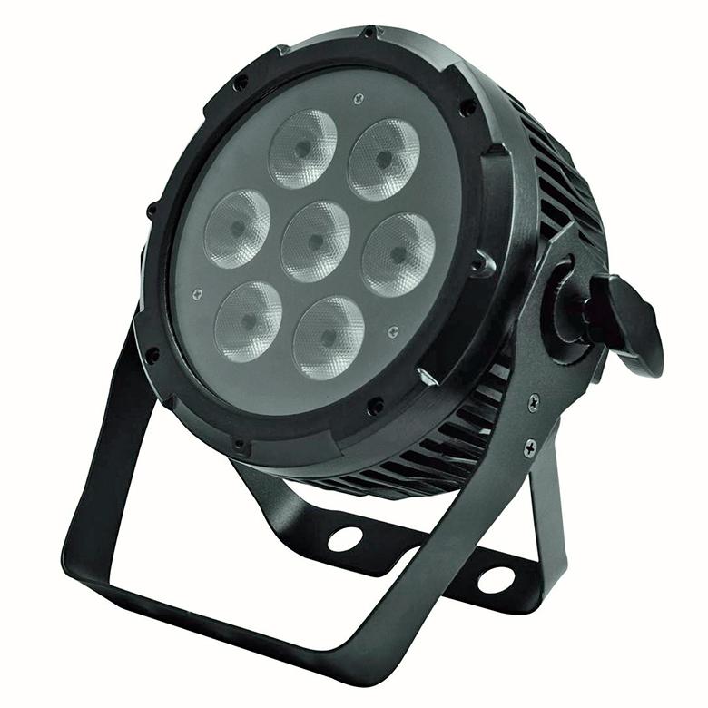FUTURELIGHT PRO Slim PAR-7 valoheitin QCL RGBW 7x 5W 4in1 quadcolor LEDiä 17°, voidaan ripustaa tai asentaa lattialle, LED-toimintonäyttö ja ohjauspaneeli valaisimen takana, staattiset värit, RGBW-värisekoitukset, 11 esiasetettua värilämpötilaa, automaattinen värienvaihto, sisäänrakennetut ohjelmat, himmentimen nopeus säädettävissä, strobe-efekti, ääniohjauksen herkkyys säädettävissä, DMX-ohjaus tai stand-alone, master/slave.