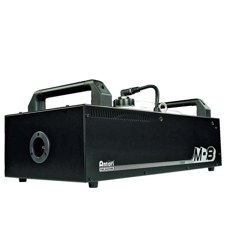 ANTARI M-8 Stage savukone 1800W tehokas jatkuvalla savun tuotolla, toimii kauko-ohjaimella tai DMX-ohjauksella sekä ohjauspaneelilla laitteen takaa (ohjauspaneelin saa irti), 10 litran tankki, lämpemisaika kahdeksan minuuttia, kulutus noin litra seitsemässä minuutissa. Mitat 668 x 319 x 170mm, paino 15kg.