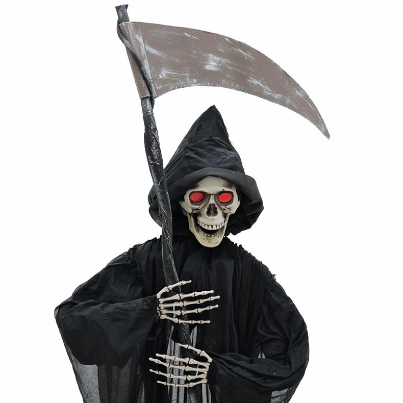 EUROPALMS Halloween kummisetä viikatteella 200cm, punaiset välkkyvät silmät, ripustettava.