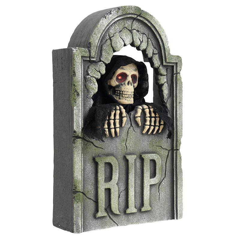 EUROPALMS Halloween hautakivi luurangolla, animoitu moottorilla, äänitehosteella ja välkkyvillä LED-valosilmillä,  56cm.
