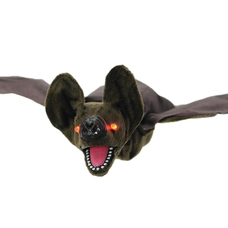 EUROPALMS Halloween lepakko, elävöitetty moottorilla, äänitehosteella ja välkkyvillä punaisilla LED-valosilmillä, ripustettava, 90cm, tuotetta ei ole palosuojattu, palosuojaukseen sopivaa palosuoja-ainetta katso Tuotteeseen yhteensopivat tuotteet