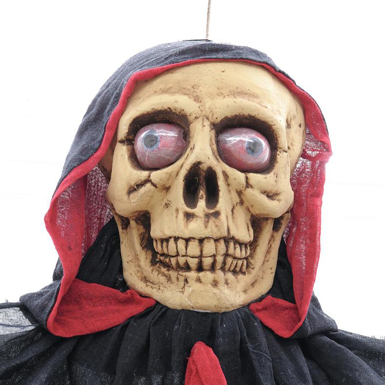 EUROPALMS Halloween pääkalloportti äänitehosteella ja punaisilla hehkuvilla silmillä, ripustettava, 233cm, tuotetta ei ole palosuojattu, palosuojaukseen sopivaa palosuoja-ainetta katso Tuotteeseen yhteensopivat tuotteet