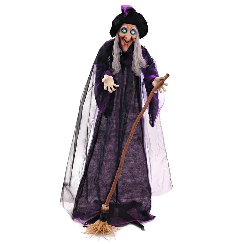 EUROPALMS Halloween noita luudalla, animoitu moottorilla, äänitehosteella ja valkoisilla hehkuvilla silmillä, jalustalla, 175cm.