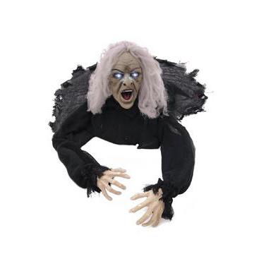 EUROPALMS Halloween Zombie vanha mies, animoitu moottorilla, äänitehosteella ja valkoisilla välkkyvillä silmillä, voidaan asetella halutulla tavalla, 45cm.