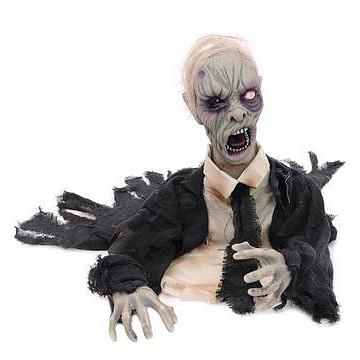 EUROPALMS Halloween Zombie, elävöitetty moottorilla, äänitehosteella ja valkoisilla välkkyvillä silmillä, voidaan asetella halutulla tavalla, 45cm, tuotetta ei ole palosuojattu, palosuojaukseen sopivaa palosuoja-ainetta katso Tuotteeseen yhteensopivat tuotteet