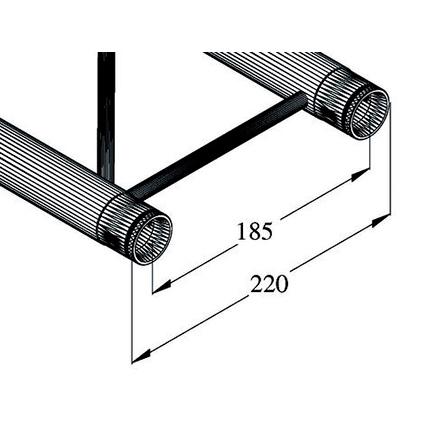 ALUTRUSS DECOLOCK DQ2 Halkaisijaltaan 5m ympyrätrussiin 45°:n pala. 8 palasta tulee täysi ympyrä. Circle element 45° for 5m circle truss, horizontal.