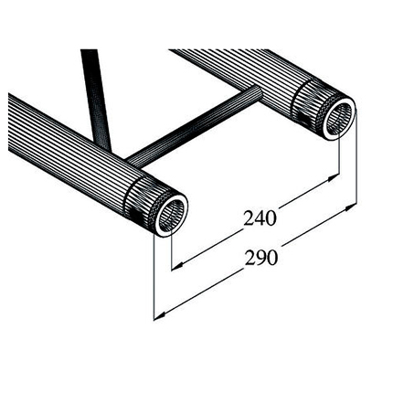ALUTRUSS BILOCK Halkaisijaltaan 2m ympyrätrussiin 90°:n pala. 4 palasta tulee täysi ympyrä. Circle element 90° for 2m circle truss, horizontal.