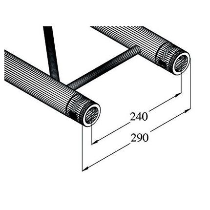 ALUTRUSS BILOCK Halkaisijaltaan 6m ympyrätrussiin 45°:n pala. 8 palasta tulee täysi ympyrä. Circle element 45° for 6m circle truss, horizontal.
