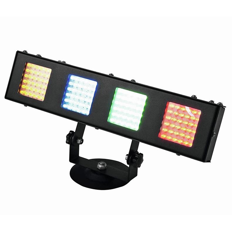 POISTO EUROLITE LED KRF-144 LED-palkki RGBY-värit 25°, 144kpl 5mm LEDiä 25°, LED-toimintanäyttö ja ohjauspaneeli, staattiset värit, himmenin ja strobe, ääniohjauksessa herkkyys säädettävissä. Mitat 95 x 345 x 155 mm sekä paino 2,0kg.