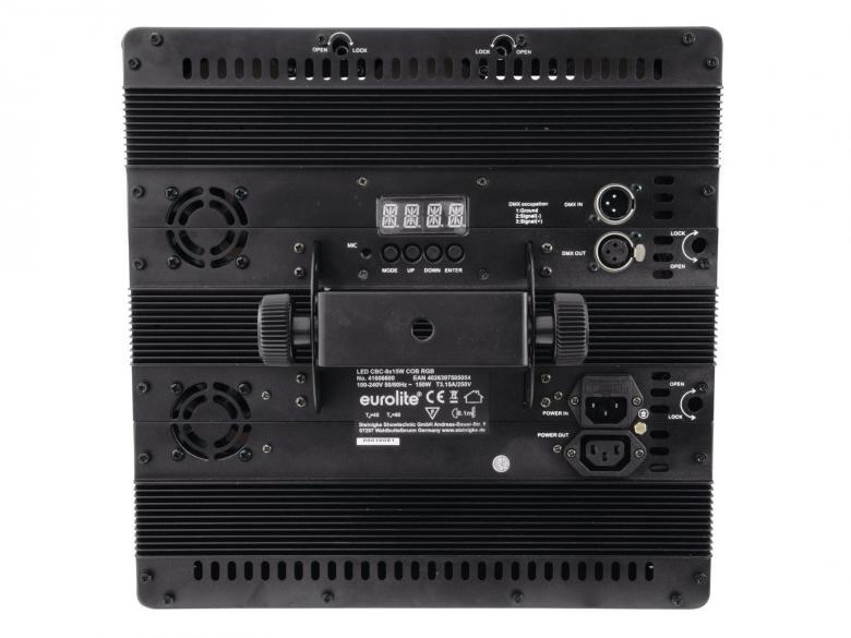 POISTO EUROLITE CBC-3 LED-paneeli, 9x 15W COB TLC LEDiä max 72°, RGB-värit, LED-toimintonäyttö ja ohjauspaneeli, himmenin ja strobe, ääniohjauksessa herkkyys säädettävissä, DMX-ohjaus tai stand-alone, master/slave. Mitat 344 x 344 x 156.5 mm sekä paino 6kg.