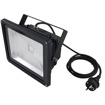 EUROLITE LED IP54 FL-30 UV-valaisin 30W UV COB LED 120°, ulko- tai sisäkäyttöön. Mitat 125 x 225 x 195 mm sekä paino 2,0kg. aukeamiskulma 120°.