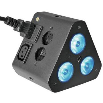 EUROLITE LED TL-3 TCL 3x 1W 16° trussivalaisin IR-kauko-ohjaimella. Pieni ja näppärä, voidaan käyttää monenlaiseen valaistukseen. Ohjauspaneeli LED-näytöllä, staattiset värit, RGB-värisekoitukset, sisäänrakennetut valmiit ohjelmat, himmennin, strobe-efekti, ääniohjauksen herkkyys säädettävissä, DMX-ohjaus tai stand-alone, master/slave.