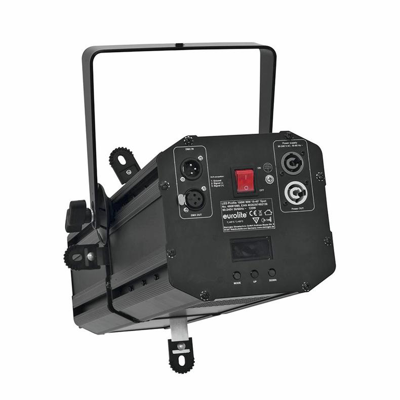 EUROLITE LED Profile Teatterivalonheitin 100W COB LED WW 19-40° musta, ohjauspaneeli LED-näytöllä laitteen takana, himmennin, strobe, DMX-ohjaus tai stand-alone, master/slave. Mitat 590 x 260 x 320 mm sekä paino 9,0kg.
