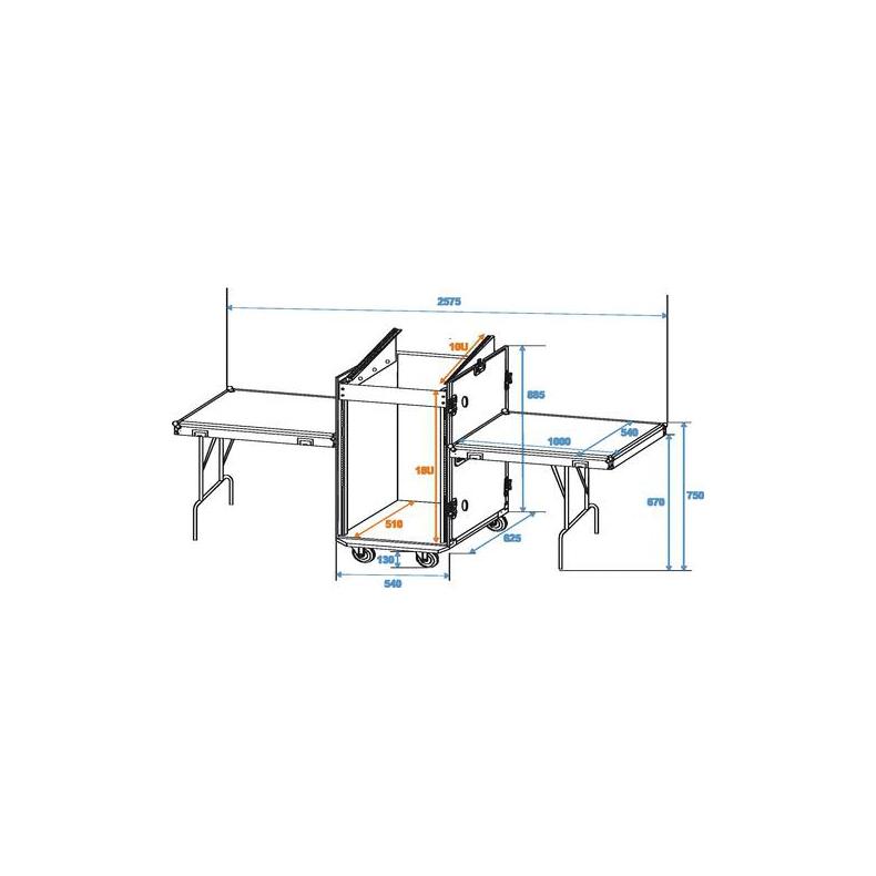 ROADINGER Kuljetuslaatikko kahdella pöydällä ja pyörillä. Special stage case TD-3 with castors. Professional stage case with integrated desks