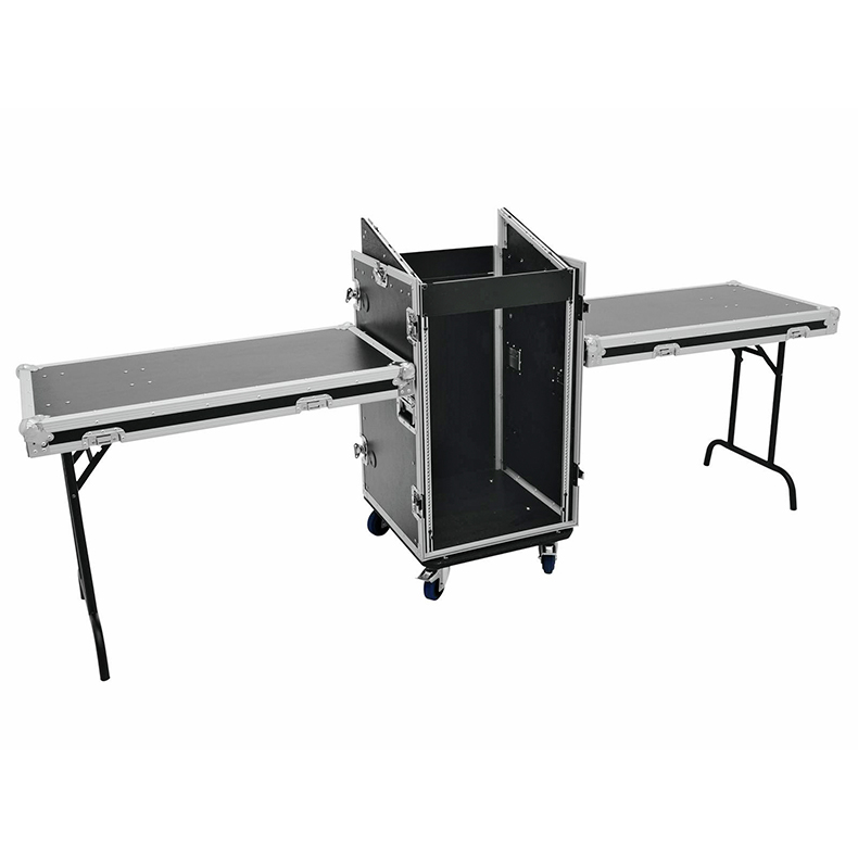 ROADINGER Kuljetuslaatikko kahdella pöydällä ja pyörillä. Special stage case TD-3 with castors. Professional stage case with integrated desks