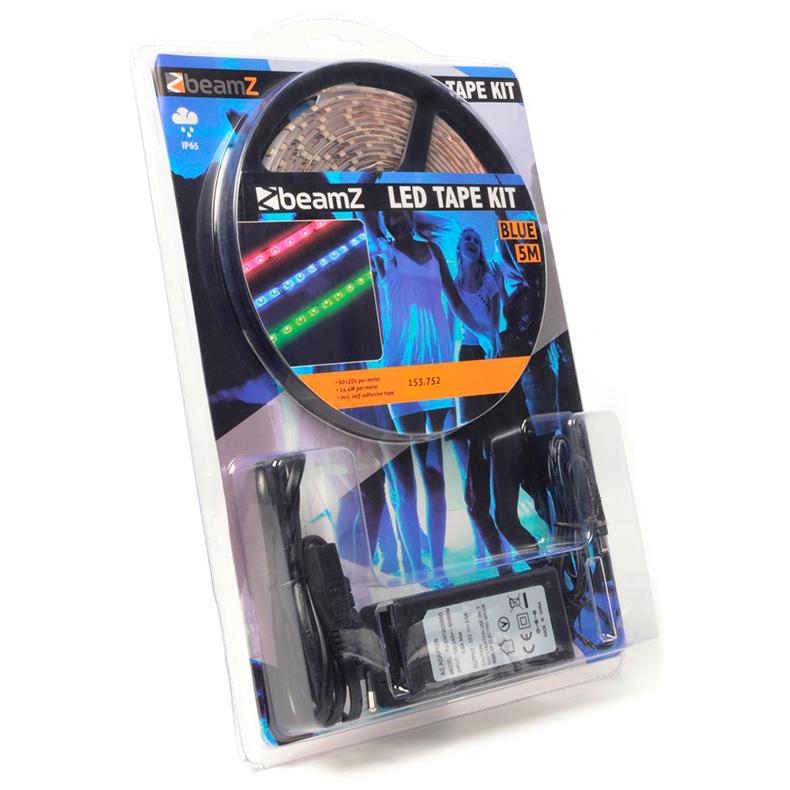 BEAMZ LED-valonauha IP65 300 LEDiä 5m sininen 12V, sopii ulko- ja sisäkäyttöön. Täydellinen setti, eli kaikki tarvittava mukana, myös muuntaja. 60 LEDiä metrillä, voidaan katkaista 3 LEDin (5cm) välein. Led nauha, led strip