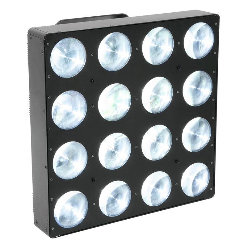 EUROLITE LED BP-16 Beam-paneeli 16x 7W valkoista LEDiä 1.5°, LED-toimintonäyttö ohjauspaneelilla, jokainen LED ohjattavissa erikseen, sisäänrakennetut ohjelmat tai DMX-ohjaus, himmennys ja stroben nopeus säädettävissä portaattomasti, ääniohjauksessa mikrofonin herkkyys säädettävissä, stand-alone tai master/slave.