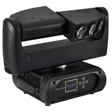 FUTURELIGHT LED Color Wave Moving Head-palkki 6x 10W quadcolor LED 2.5° RGBW-värit, LED-toimintonäyttö ohjauspanelilla, jokainen LED ohjattavissa erikseen ja portaattomasti, suljin sekvenssit, sisäänrakennetut ohjelmat, valmiit värien esiasetukset, 630° PAN and 240° TILT, stroben nopeus säädettävissä ja random toiminto, ääniohjauksessa mikrofonin herkkyys säädettävissä, stand-alone tai master/slave. UUTUUS 3.2014