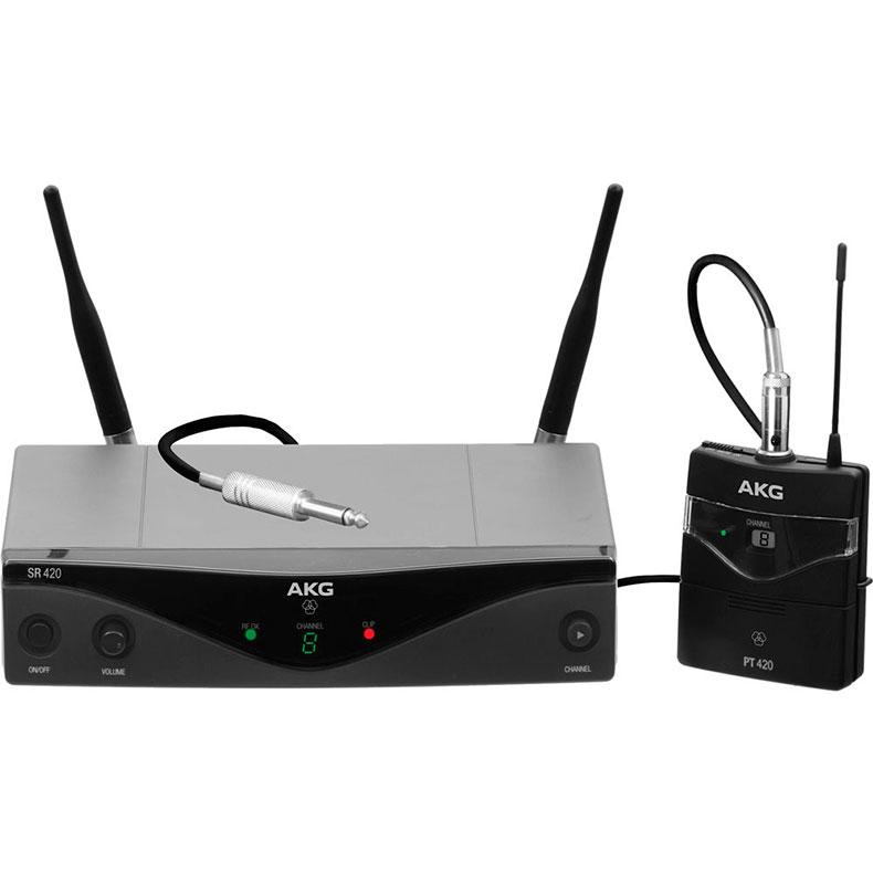 """AKG WMS420 kitara-instrumentti langaton mikrofoni (D863,100MHz) luvasta vapaa alue, langaton mikrofonijärjestelmä. Diversity taskulähetinjärjestelmä instrumenttikaapelilla. <b>Max. 8 kanavaa taajuusalue</b>, kaikissa lähettimissä latauspinnat <b>(CU400 laturi)</b>, AKG lupaa 8h käyttöaikaa yksittäisellä AA-paristolla, Yhteensopiva kaikkien AKG:n MicroMic-sarjan mikrofonien kanssa, lähettimissä """"Low Battery"""" varoitusindikaattori, ulkoiset irrotettavat antennit – yhteensopiva lisäantennien sekä antennijakojen kanssa, lähetinteho 10mW-50mW taajuusalueesta riippuen. UUTUUS 5.2014"""