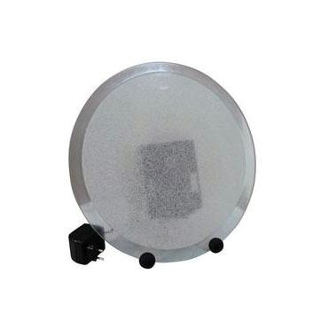 EUROLITE Plasmakiekko 40cm vihreä salamat välähtelevät ristiin rastiin kiekkoa äänen vaikutuksesta tai kosketuksesta, ääniohjauksen herkkyys on säädettävissä sisäänrakennetun mikrofonin avulla. Toimiin 12V tasavirralla, sisältää virtalähteen 230V AC -> 12V DC. Kulutus vain 18W