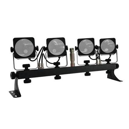 EUROLITE LED KLS-50 neljän spotin valosetti poikkiorrella, 4x 15W 40° COB TLC LEDiä, eli Tri Color LEDiä. Valmiiksi koottuna kuljetuslaukussa, ultra kevyt ja helppo roudata. Jokainen spotti ohjattavissa erikseen DMX:llä. Ääniohjaus sisäänrakennetulla mikrofonilla, jonka herkkyys on säädettävissä. DMX:n kautta himmennin, automaattinen tila, musiikin ohjaus, strobo tehoste. DMX-ohjattavissa ja tukee DMX512 singnaalien langatonta QuickDMX vastaanottoa. Ohjattavissa myös erikseen saatavalla FP-1 jalkaohjaimella tai IR-kauko-ohjaimella. Stand-alone, master/slave. KLS-Series . Mitat 720 x 90 x 235 mm sekä paino 6,9kg (pakkauspaino).