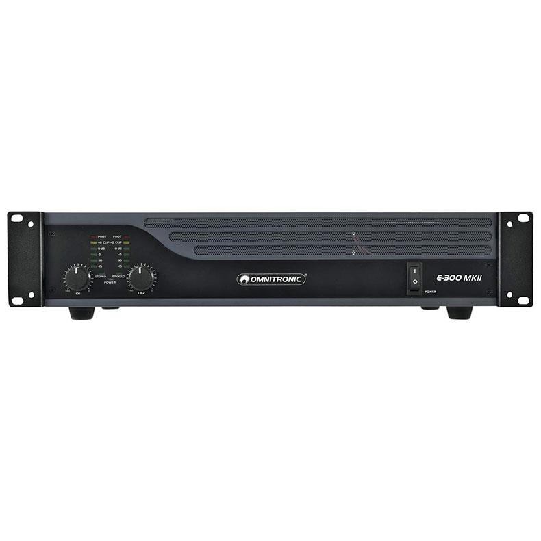 OMNITRONIC E-300 MK2 päätevahvistin 2x150W Limitterillä varustettu jämäkkä päätevahvistin 2x 150W 4Ω 2x 100W 8Ω, 1x 300W siltakytkennässä 8Ω. Laadukas sekä helppo kytkeä, limitteri voidaan kytkeä päälle tai pois. Voidaan käyttää stereo tai Bridge moodissa. Maakytkin huminan estoa varten. Signaali sisään XLR tai RCA sekä linkki toisille päätteille tai aktiivikaiuttimille XLR-XLR. Räkki asennettava 2U n.10cm. koko 345 x 482 x 100mm (19'' 2U) 8,5kg.