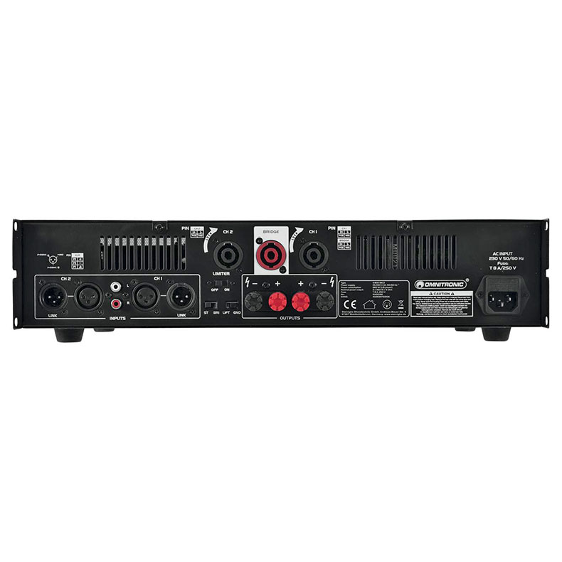 OMNITRONIC E-900 MK2 päätevahvistin limitterillä 2x 450W 4Ω, 2x 300W 8Ω, 1x 900W siltakytkennässä 8Ω. Laadukas sekä helppo kytkeä, limitteri voidaan kytkeä päälle tai pois. Sisäänmenot XLR- tai jack plug 6,3mm liittimet sekä XLR-läpimenoliittimet, Koko 345 x 482 x 100mm, 12kg.