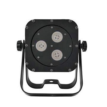 EUROLITE LED SLS-3 HCL Slimline valonheitin 3x 10W HCL. LEDiä (6in1 hexacolor LED eli RGBAW+UV) 40°, ns. floor-malli. LED-toimintonäyttö ohjauspaneelilla lampun takana, staattiset värit ja RGBAW+UV-värisekoitukset, värimacrot, automaattinen värienvaihto sisäärakennetuilla ohjelmilla, himmenin ja stobe asetukset, ääniohjaus sisäänrakennetun mikrofonin kautta ja herkkyys säädettävissä, stand-alone, master/slave. Voidaan ripustaa tai asentaa lattialle kaksoisjalustan avulla.