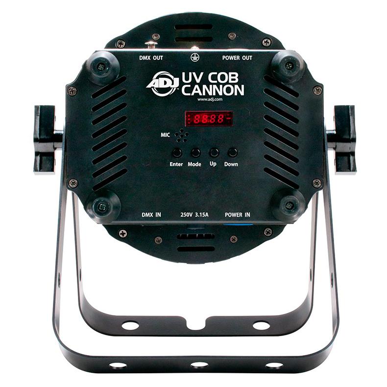 ADJ UV COB Cannon UV-valaisin 100W COB LED 33° himmennys 0-100%, pulse ja strobe-efekti, musiikkiohjaus, DMX-ohjaus tai stand-alone, ns floor-malli tupla ripustussangalla, mitat 320 x 278 x 200mm sekä paino 5,0kg.