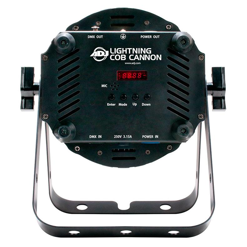 ADJ Lightning Cannon 100W COB LED-valaisin kylmä valkoinen 8000K 33°, himmennys 0-100%, pulse ja strobe-efekti, musiikkiohjaus, DMX-ohjaus tai stand-alone, ns. floor-malli tupla ripustussangalla