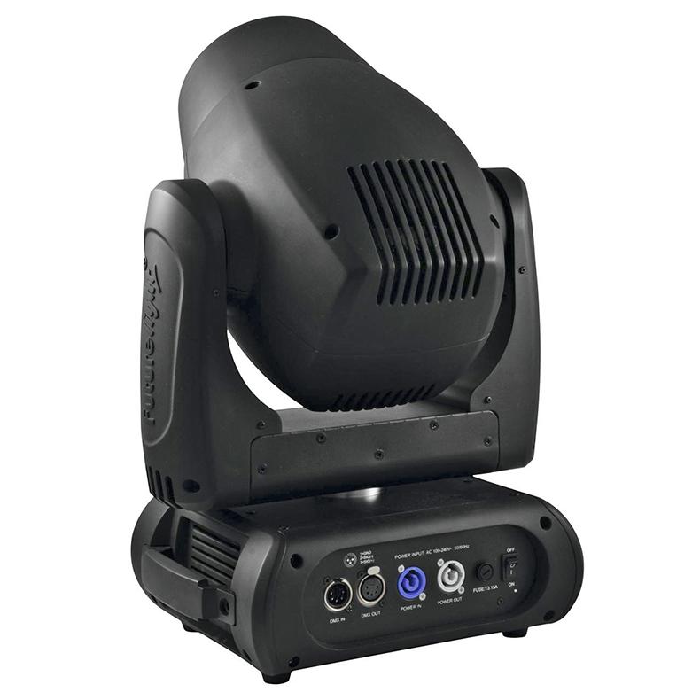 FUTURELIGHT DMB-150 LED Moving Head huipputehokas 150W COB LED, valokeila 5° ja helppo keskittää, 3-facet prisma ja 8-facet prisma sekä beam shaperi, 8 eri dichroic värifiltteriä, sateenkaariefekti, 11 staattista goboa + auki, gobo shake-toiminto, himmennin, strobe, DMX-ohjaus tai stand-alone, master/slave