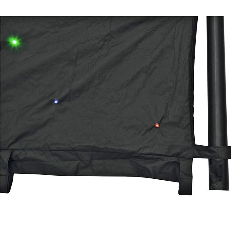 EUROLITE CRT-190 LED-verho 6 x 4m 190x 5mm LEDiä, omalla ohjaimella, myös DMX-ohjattava, ääniohjaus sisäänrakennetun mikrofonin kautta, valmiit automode-ohjelmat, strobe, staattiset värit, värivaihdon nopeus säädettävissä, mukana kuljetuslaukku