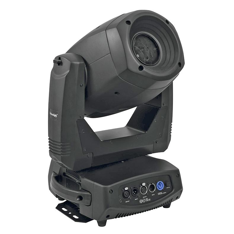 FUTURELIGHT DMH Quad-150 LED Moving Head huipputehokas 150W COB LED RGBW-väreillä, valokeila 17°, sisäänrakennettu langaton vastaanotin 2.4GHz taajuudella WDMX varten, RDM-tuki, 3-facet prisma, makrotoiminto pyöriville prisma-gobo yhdistelmille, gobo-pyörä yhdessä 7 pyörivää goboa + auki, kaikki gobot voidaan vaihtaa, gobo-pyörä kahdessa 7 staattista goboa + auki, gobo shake-toiminto, motorisoitu focus, huurrefiltteri, portaattomasti säädettävä iris, automaattinen asennon korjaus, himmennin, strobe, esiohjelmoituja scenejä ja sisäänrakennettuja ohjelmia, DMX-ohjaus tai stand-alone, master/slave