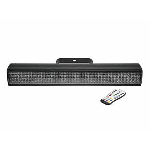 EUROLITE ACCU Bar-160 RGBA LED-palkki 160x 10mm LEDiä 11°-19°, mukana IR-kauko-ohjain, toimii vaihtoehtoisesti ladattavalla lithium-ion-akulla tai verkkovirralla, latausaika n. 5h, akun toiminta-aika yhdellä värillä n. 20h ja kaikki värit käytössä n. 6,5h, staattiset värit, RGBA-värisekoitukset, automaattinen värin vaihto, sisäänrakennetut valmiit ohjelmat, himmennin ja strobe-efekti kauko-ohjaimella tai DMXn kautta, ääniohjauksen herkkyys säädettävissä, DMX-ohjaus tai stand-alone, master/slave. Mitat 569 x 73.6 x 159 mm sekä paino 2.3kg.