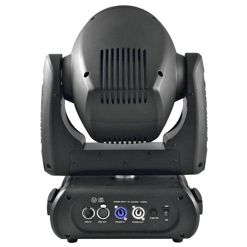 FUTURELIGHT DMH-100 LED Moving Head tehokas 100W COB LED RGBW-väreillä, valokeila 13°, sisäänrakennettu langaton vastaanotin 2.4 GHz taajuudella WDMX varten, RDM-tuki, 3-facet prisma ja 8-facet prisma sekä huurrefiltteri, gobo-pyörä yhdessä 7 pyörivää goboa + auki, kaikki gobot voidaan vaihtaa, gobo-pyörä kahdessa 7 staattista goboa + auki, gobo shake-toiminto, motorisoitu focus, huurrefiltteri, portaattomasti säädettävä iris, automaattinen asennon korjaus, himmennin, strobe, ääniohjaus sisäänrakennetun mikrofonin kautta, DMX-ohjaus tai stand-alone, master/slave