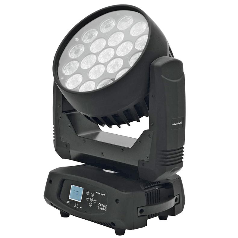 FUTURELIGHT EYE-190 Zoom LED Moving Head Wash, 19x 10W QCL (quadcolor) RGBW LEDiä, motorisoitu valokeilan zoomi 13°-27°, sisäänrakennettu langaton vastaanotin 2.4 GHz taajuudella WDMX varten, RDM-tuki, 19 LEDiä ohjettavissa erikseen kolmen ryhmissä, portaaton värien vaihto, väreille valmiit esiasetukset ja macrot, automaattinen asennon korjaus, panarointikulma vaihdettavissa 630° ja 540°, masterhimmennin, random strobe tai 1-18 välähdystä/sekunti, ääniohjaus sisäänrakennetun mikrofonin kautta, DMX-ohjaus tai stand-alone, master/slave