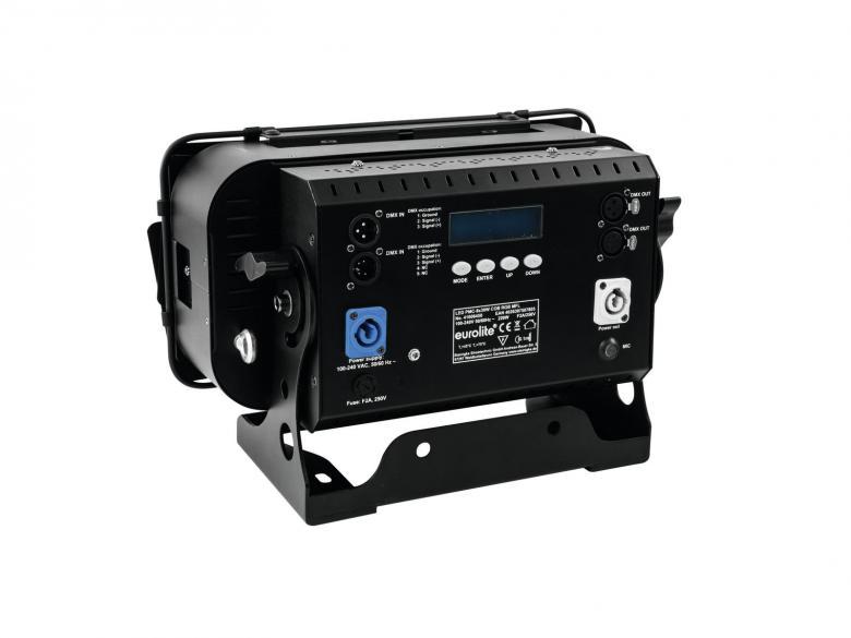 EUROLITE PRO PMC MFL-paneeli 8x 30W COB LEDiä RGB 25°, RDM-tuki, jokaista LEDiä voidaa säätää erikseen, ohjauspaneeli LED-näytöllä laitteen takana, staattiset värit, RGB-värisekoitukset, säädettävä valkotasapaino, automaattinen värin vaihto, sisäänrakennetut valmiit ohjelmat, himmennin portaattomasti säädettävissä, himmennin ja strobe-efekti DMXn kautta, ääniohjauksen herkkyys säädettävissä, DMX-ohjaus tai stand-alone, master/slave