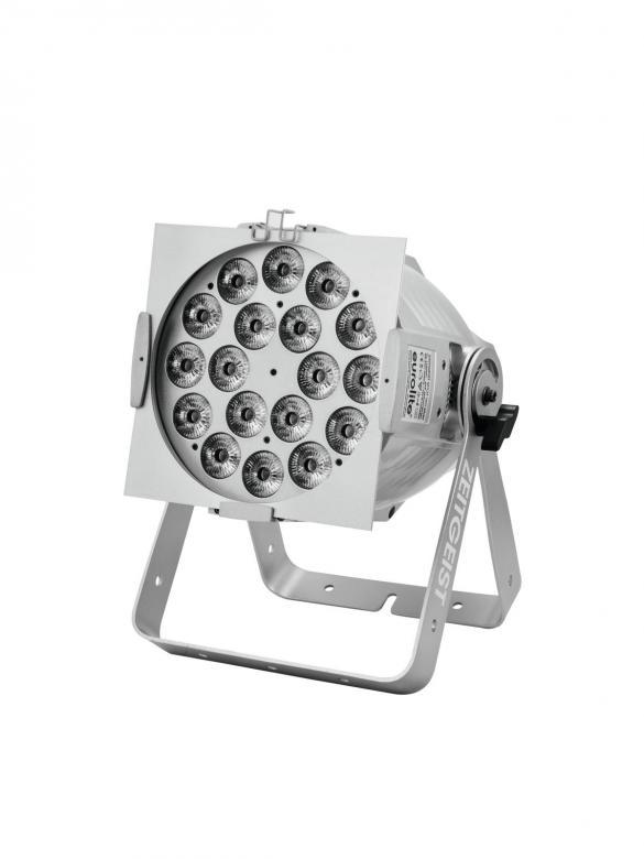 EUROLITE  Zeitgeist 180 tehokas PRO-spotti 18x 10W 6in1 HCL LEDiä 16°, värit punainen, vihreä, sininen, amber, valkoinen ja UV, RDM-tuki, LED-toimintonäyttö ohjauspaneelilla laitteen takana, staattiset värit, RGBAW+UV-värisekoitukset, himmennin portaattomasti säädettävissä, automaattinen värin vaihto, sisäänrakennetut valmiit ohjelmat, himmennin portaattomasti säädettävissä, strobe-efekti, ääniohjauksen herkkyys säädettävissä, DMX-ohjaus tai stand-alone, master/slave, väri alu