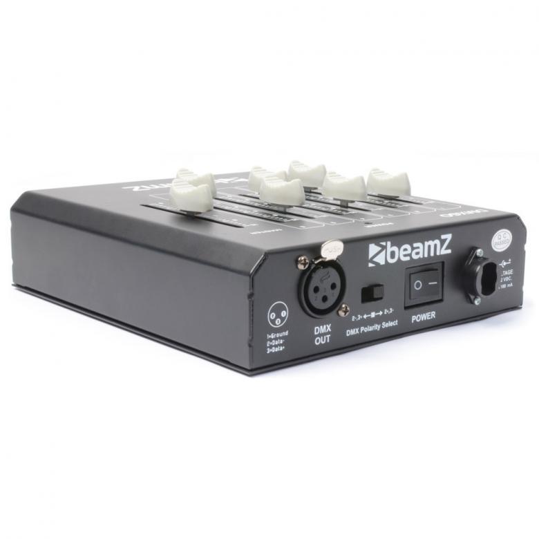 BEAMZ DMX60 DMX-valo-ohjain 6-kanavaa DECO up-down koriste valaistukseen sekä alue-/tilavalaistukseen, master-himmentimellä voidaan luoda kodikas tunnelmavaistus helposti eri tilaisuuksiin. Paristokäyttöinen ja kevyt, helppo ottaa käyttöön ja käyttää missä tahansa. Mitat 174 x 150 x 54mm ja paino 0.95kg
