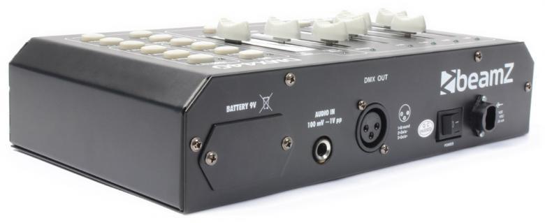 BEAMZ DMX440 DMX-valo-ohjain 4-kanava 4-ohjelmaa, monipuoliseen valo-ohjaukseen, niin koristevalaistukseen kuin alue-tilavalaistukseen, scene/chase ohjelmointi, myös auto-ohjaus tai ääniohjaus sisäänrakennetus mikrofonin avulla. Tämä tuote toimii myös ilman verkkovirtaa paristoilla. Soveltuu 4-kanavaisille Quad ledeille, RGBW tai RGBA. Mitat 155 x 255 x 70mm ja paino 1.45kg