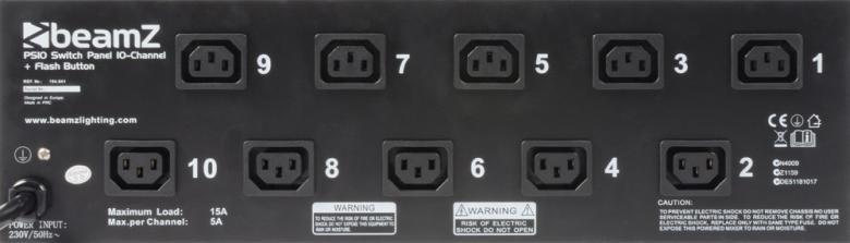 BEAMZ PS10 Kytkinpaneeli 10-kanavaa ja IEC-ulostuloa sekä joka kanavalle on flash-nappula, kanavakohtainen sulake a' 6.3A, max. kuorma 23680W, voidaan asentaa 19